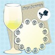Vector design for menu, invitation, card with glass for white French wine - Chardonnay on decorative background — Vettoriali Stock