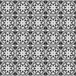 Seamless pattern with floral and geometrical ornament. Vector decorative background. Black and white illustration — Stockvektor