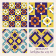 Abstract set of colorful seamless geometrical patterns - vintage — Stock Vector
