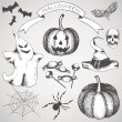 Vintage set of hand drawn halloween illustrations — Stock Vector