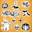 Vector halloween sticker on aged background. Hand drawn elements for halloween party — Stock Vector