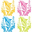 Ornamental vector set with dolphin silhouettes and flourish elements — Stock Vector