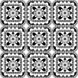 Seamless pattern with vector rosette with floral and geometrical ornament. Black and white illustration — Stock Vector