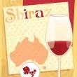 Stock Vector: Vector design for menu, invitation, card with glass for Australired wine - Shiraz on background with Australimap, geometrical ornament