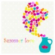 Decorative vector card with jug and fruits silhouette. Design for invitation, greeting card, menu. Summer love card. — Image vectorielle