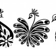 Vector set with three ornamental fantastic swans - birds with flourishes ornaments — Stock Vector