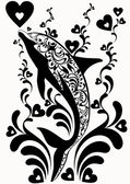 Ornamental dolphins with decorative flourish elements on white background — Stock Vector