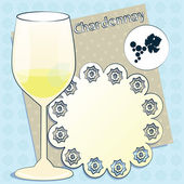 Vector design for menu, invitation, card with glass for white French wine - Chardonnay on decorative background — Stock Vector
