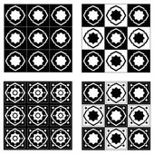 Abstract set of black and white seamless geometrical patterns — Stock Vector