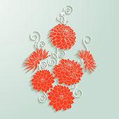 Decorative dahlia flowers. Vector illustration — Stock Vector
