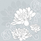 Ornamental pattern with decorative dahlia flowers on grey background — Stock Vector