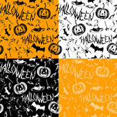 Seamless pattern with halloween decoration elements. Hand drawn background — Stock Vector