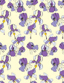 Artistic pattern with decorative iris flower. Vector background — Stock vektor
