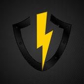 Shield emblem on grey background — Stock Vector