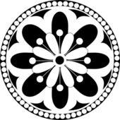 Roseta de vectores com ornamentos florais e geométricos. ilustração a preto e branca — Vetorial Stock