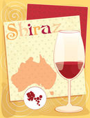 Vector design for menu, invitation, card with glass for Australian red wine - Shiraz on the background with Australia map, geometrical ornament — Stock Vector