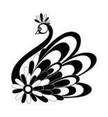 Black and white decorative vector bird silhouette with flourish graphic ornament — Stock Vector