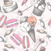 Vintage sweet cake and candies background. Seamless Hand drawn pattern. — Vecteur
