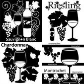 Vector set of different sorts of white wine — Stock Vector