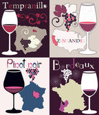 Vector set with four decorative illustrations with glasses for red wine from California, France, Spain and grapes region map — Stock Vector