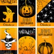 Halloween card collection with  holiday elements — Stock Vector