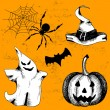 Vector set of vintage halloween icons. — Stock Vector