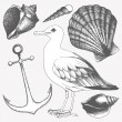 Vector collection of hand drawn sea illustrations — Stock Vector