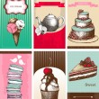 Vector collection of greeting cards with hand drawn desserts. — Vettoriali Stock
