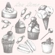 Vector collection of hand drawn sweet cupcakes and candies. Vintage illustrations — Stock Vector #33782927