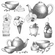 Vector set of vintage sweet cake, candies and teapot. Hand drawn tea time illustrations isolated on white — Stock Vector
