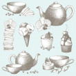 Vector set of vintage sweet cake, candies and teapot. Hand drawn tea time illustrations. — Stock Vector