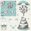 Vector collection of wedding design elements. Hand drawn wedding decoration. Seamless floral pattern — Image vectorielle