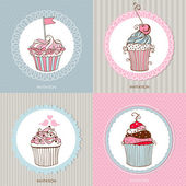 Decorative hand drawn sweet cupcakes cards — Stock Vector