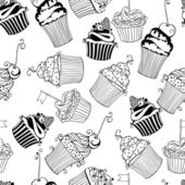 Seamless pattern with Hand drawn sweet cupcakes — Stock vektor