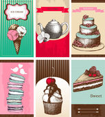 Vector collection of greeting cards with hand drawn desserts. — Stock Vector