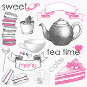 Vector collection of hand drawn sweet cake, candies and teapot. Engraved tea time illustrations and decorative design elements isolated on white — Stock Vector