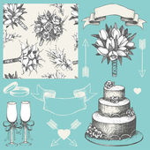 Vector collection of wedding design elements on turquoise background. Hand drawn wedding decoration. Seamless floral pattern — Stock Vector