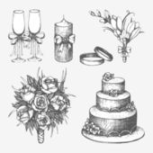 Hand drawn wedding elements — Stock Vector