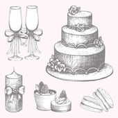 Hand drawn wedding cake design elements — Stock Vector