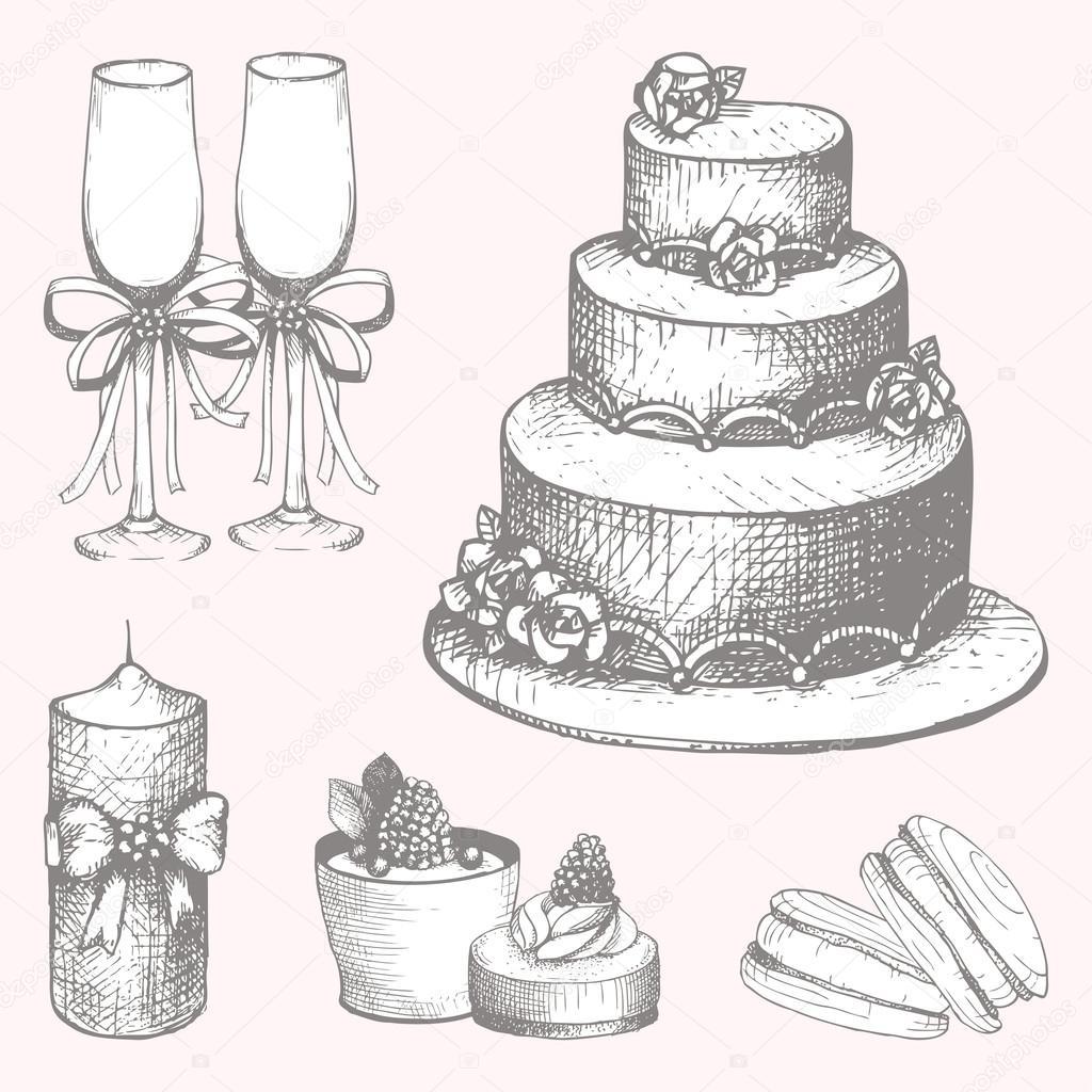 Sugar Sketch Cake Design : Hand drawn wedding cake design elements   Stock Vector ...