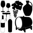 Glasses for wine, grapes, bottle — Vector de stock