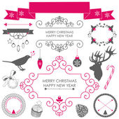 Christmas and New year's elements — Stock Vector