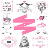 Set of artistic wedding elements — Stock Vector