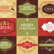 Vector collection of Christmas and New year's cards and banners in retro colors — Stock Vector