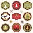 Vector collection of Christmas and New year's stickers with hand drawn illustrations in retro colors — Stock Vector