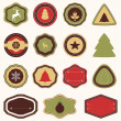 Vector collection of Christmas and New year's stickers and elements in retro colors — Stock Vector