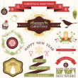Vector collection of graphic elements for Christmas and New year's greeting card or invitation design — Stock Vector
