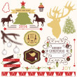 Vector collection of graphic elements for Christmas and New year's design in retro colors. — Stock Vector