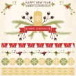 Vintage design for Christmas and New year's greeting card — Vector de stock