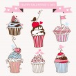 Vector collection of decorative hand drawn sweet cupcakes card for greeting card or invitation — Stock Vector